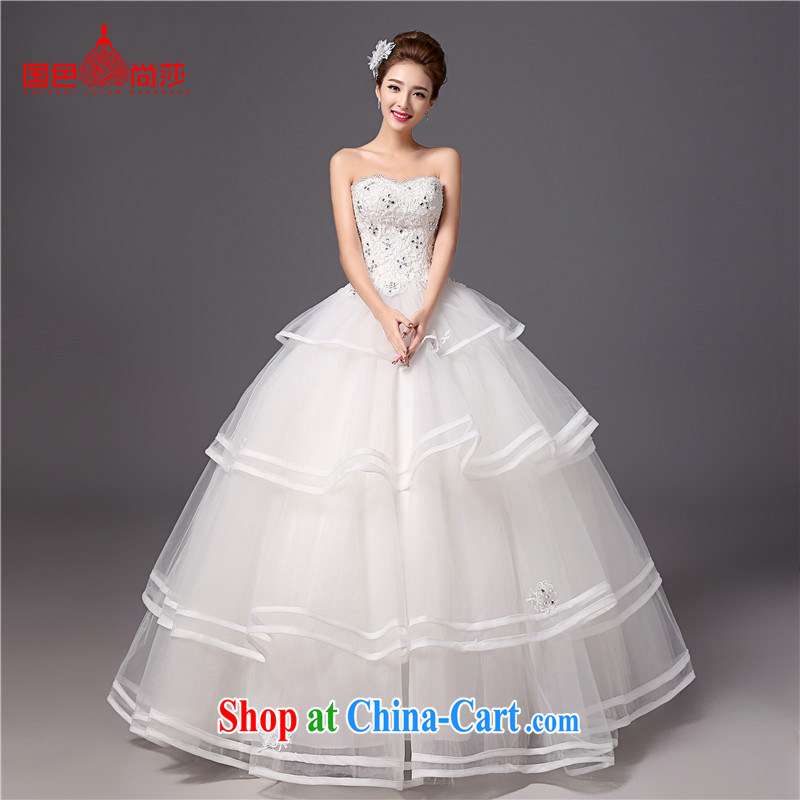 Korean-style Princess dress with bare chest wedding 2015 new spring and summer beauty graphics thin brides with wedding dresses white XXL
