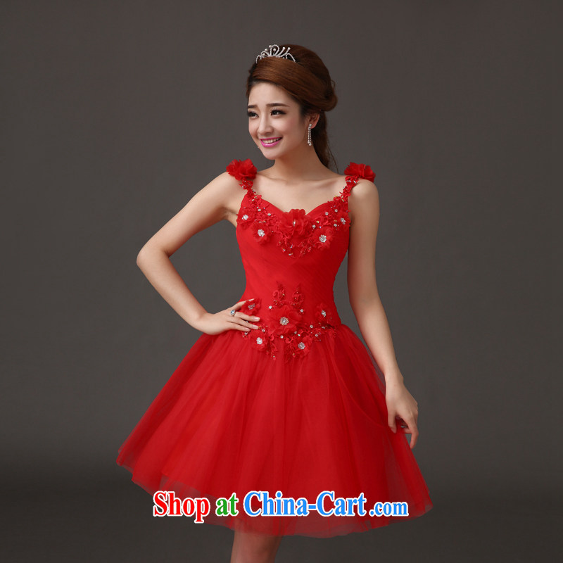 The china yarn 2015 new bride short wedding dresses summer shaggy toast dress dress bridesmaid appearances dress Red. size does not accept return