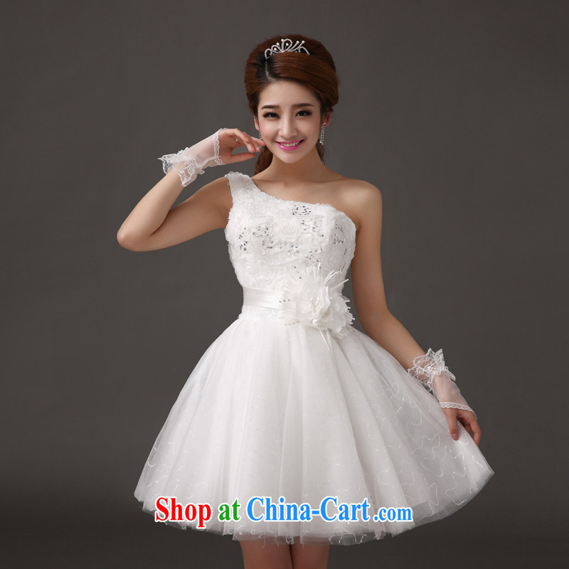 The china yarn 2015 new bride short wedding Korean single shoulder short, Princess small dress bridesmaid lace bows Toastmaster of the evening dress wedding white. size do not accept return