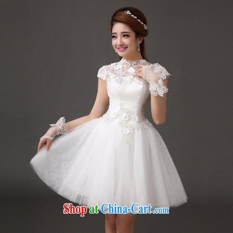 The china yarn 2015 cultivating new dress lace bridesmaid serving small dress short white field shoulder graphics thin lovely wedding white S