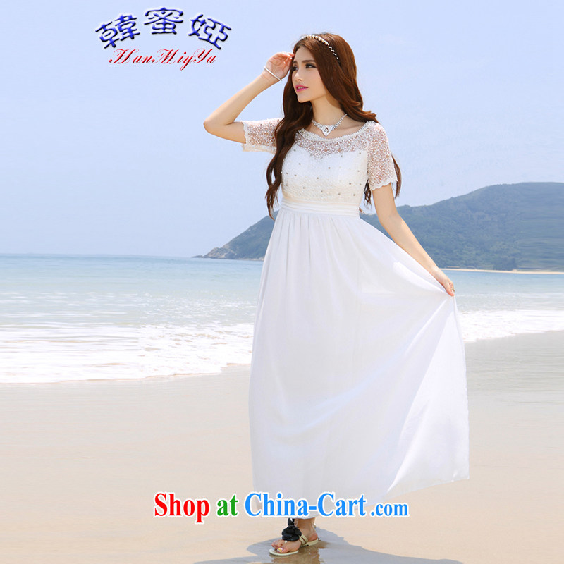 Korean honey Julia 2015 summer beach dress wedding nails Pearl inserts drill dress long dress DR 90,023 white XL