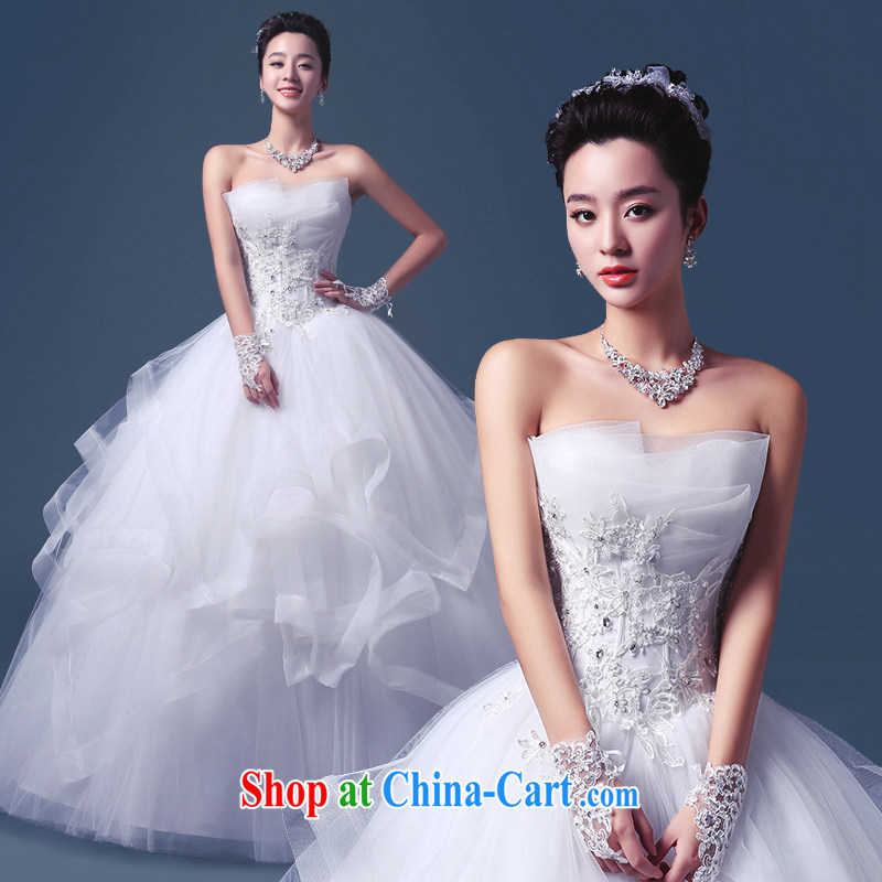 Code hang bridal 2015 wedding dresses spring and summer new lace beauty graphics thin alignment to erase chest-Korean wedding wedding white dresses white XXL