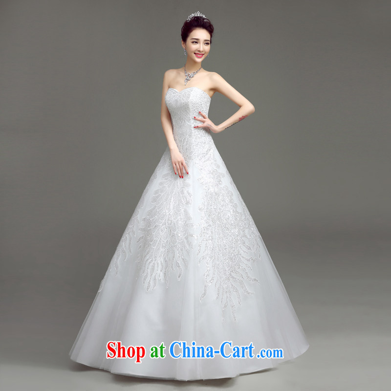 According to T-shirt with the wedding dresses 2015 spring and summer new Korean Beauty graphics thin smears chest strap A Field dress with wedding dresses at Merlion with tail wedding white S