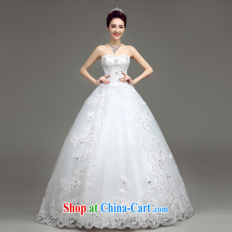 According to T-shirt with the wedding dresses 2015 new white with wedding dresses spring and summer Korean wiped his chest strap the code lace custom bridal wedding dresses white XXL