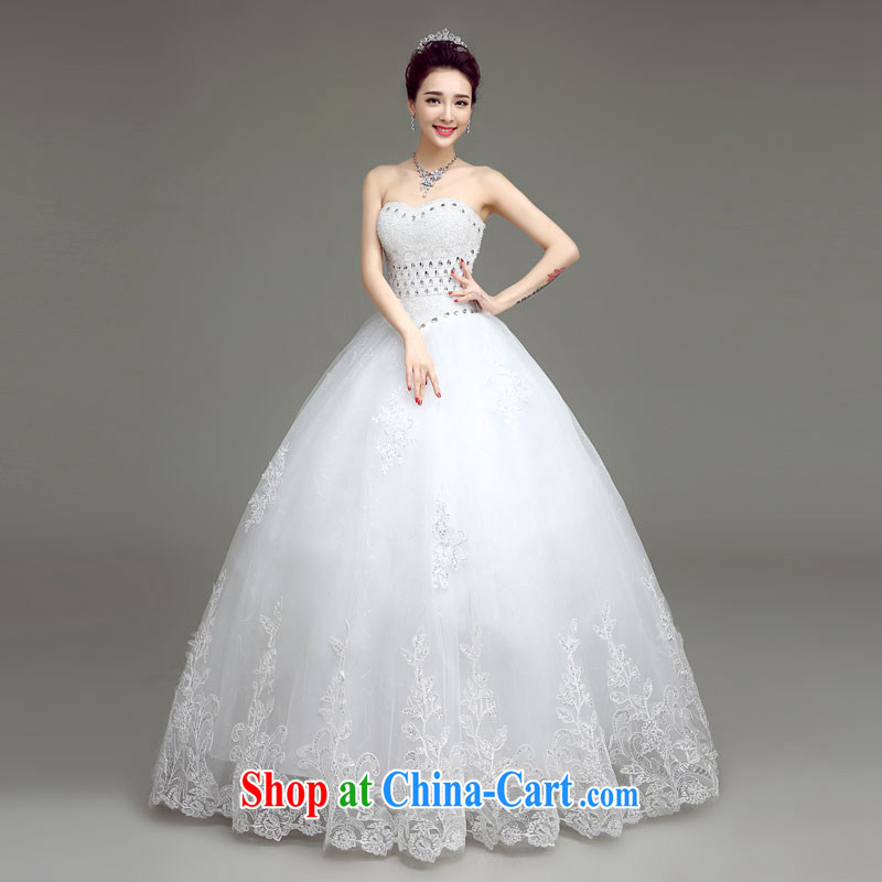 According to T-shirt with the wedding dresses Korean version Mary Magdalene chest white Princess tie wedding 2015 spring and summer New Beauty video thin wood drill stylish bridal wedding dresses white XXL