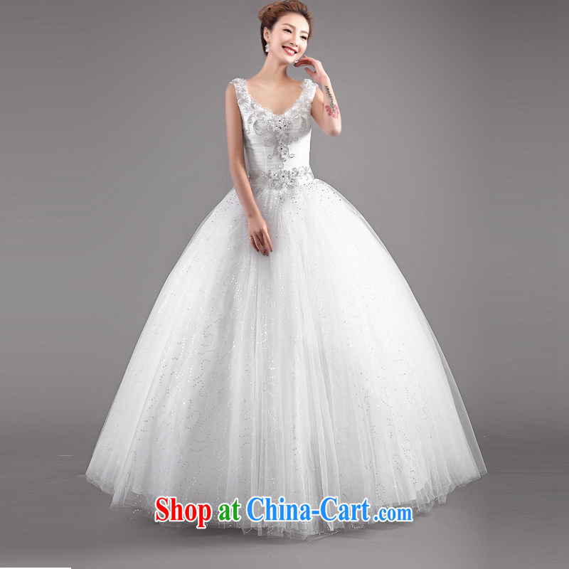 The Champs Elysees, as soon as possible, Retro with V collar bridal wedding dresses 2015 spring and summer new larger Korean white brides home yarn white XXL