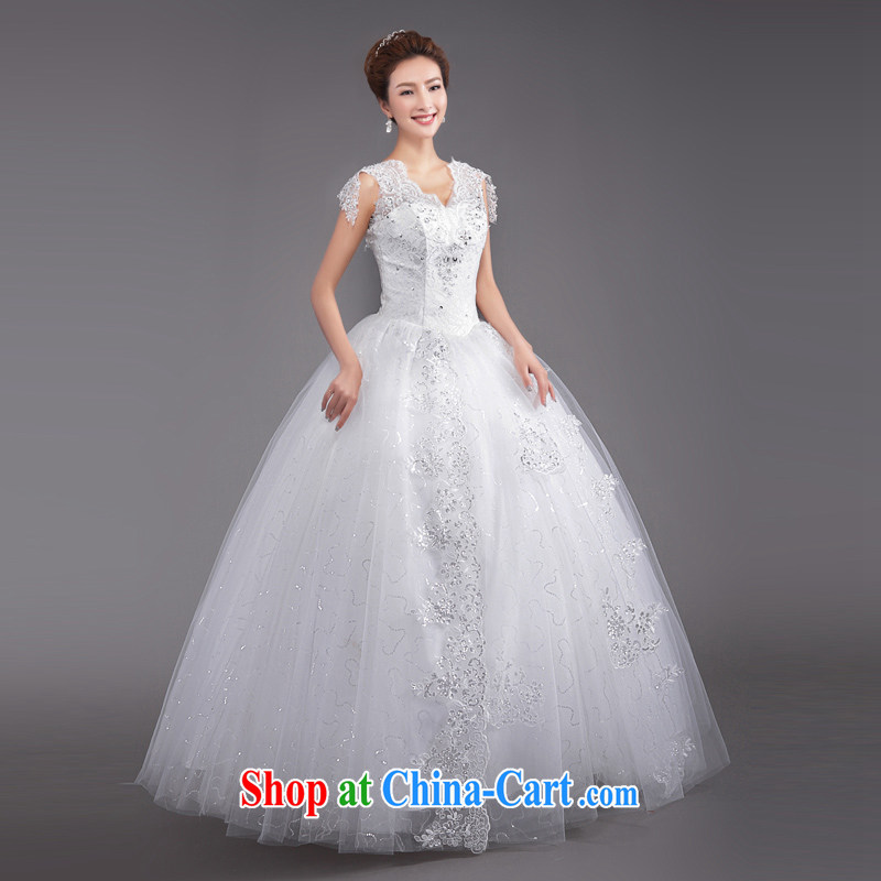 Beijing, Hong Kong, 2015 as soon as possible new Korean fashion shoulders V collar with bridal beauty graphics thin retro lace larger white wedding white XXL