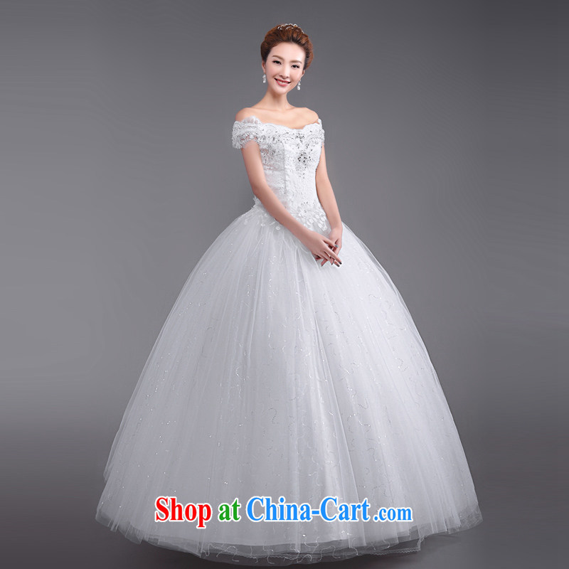 Elections, Hong Kong's Health 2015 spring and summer new stylish bridal Princess a shoulder strap with wedding dresses retro beauty graphics thin white XXL
