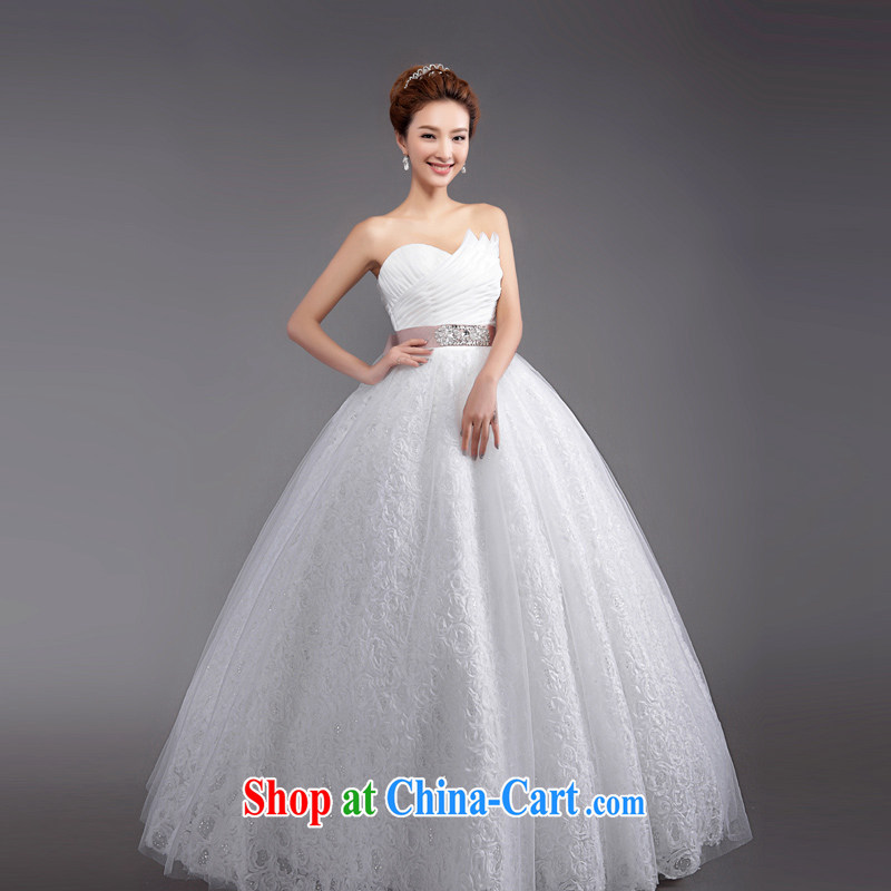 Beijing, Hong Kong, 2015 as soon as possible new shadow floor wedding dresses Korean wiped his chest to Princess bride's wedding, tie wedding white XXL