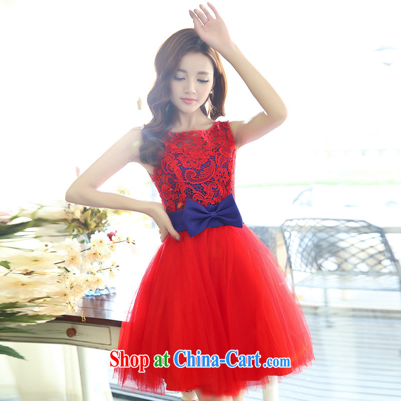 Dream for bridesmaid wedding dress 2015 new short red banquet autumn bridesmaid clothing red with blue XL
