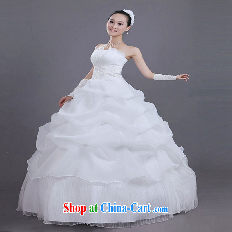 A Chinese wedding dresses 2015 new Korean version Princess Mary Magdalene chest graphics thin shaggy dress bridal wedding dresses photo building wedding theme costumes, view a photo double zipped XXL