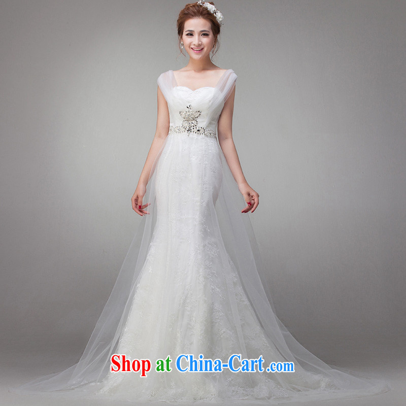 At Merlion 2015 wedding summer new stylish dress Korean bridal small trailing double-shoulder lace graphics thin retro large, white XXL