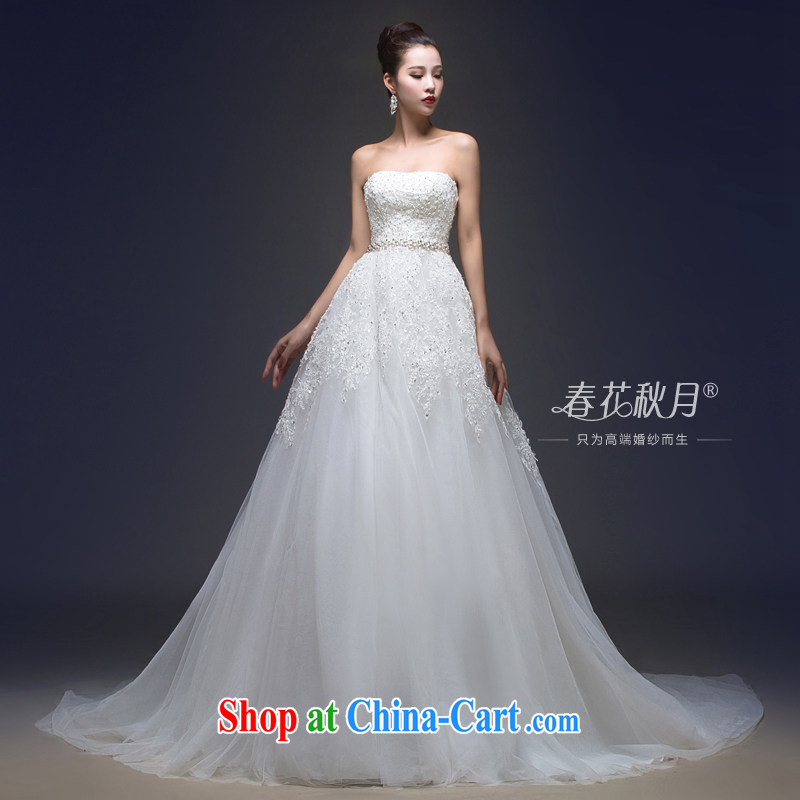 bare chest wedding dresses drag and drop the new 2015 stylish lace-on-chip integrated with cultivating graphics thin wood drill luxury big white S
