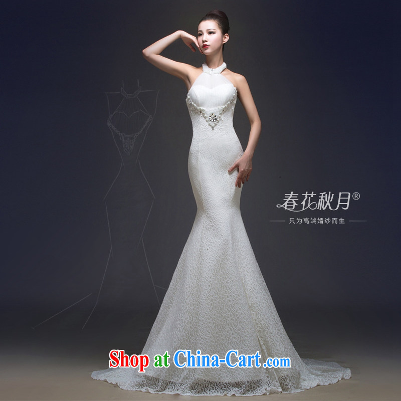 Also Hang-tail end crowsfoot wedding dresses 2015 new lace-up waist and back exposed binding with parquet drill out yarn and white XL