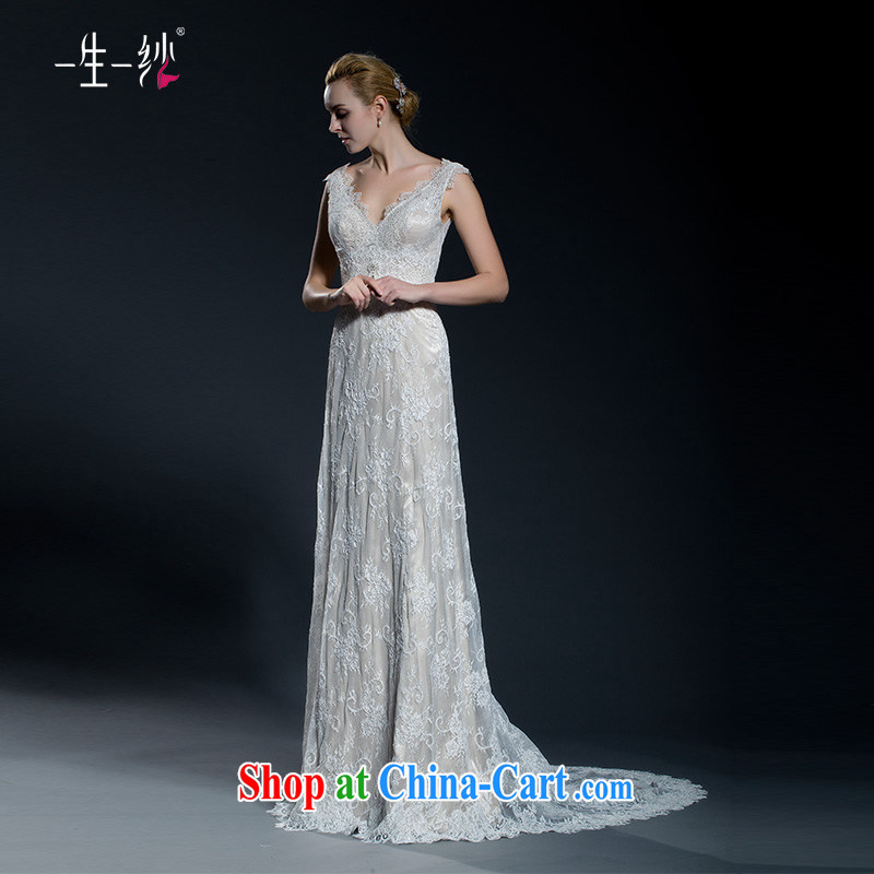 2015 new lace shoulders V for long-tail graphics thin wedding Princess lace Korean flowers crowsfoot wedding 40251092 champagne color XL code 30 days pre-sale