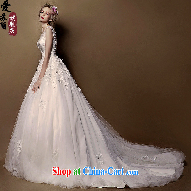 New 2015 spring and summer, the fuser lace bare chest shaggy skirts the long tail wedding white XL