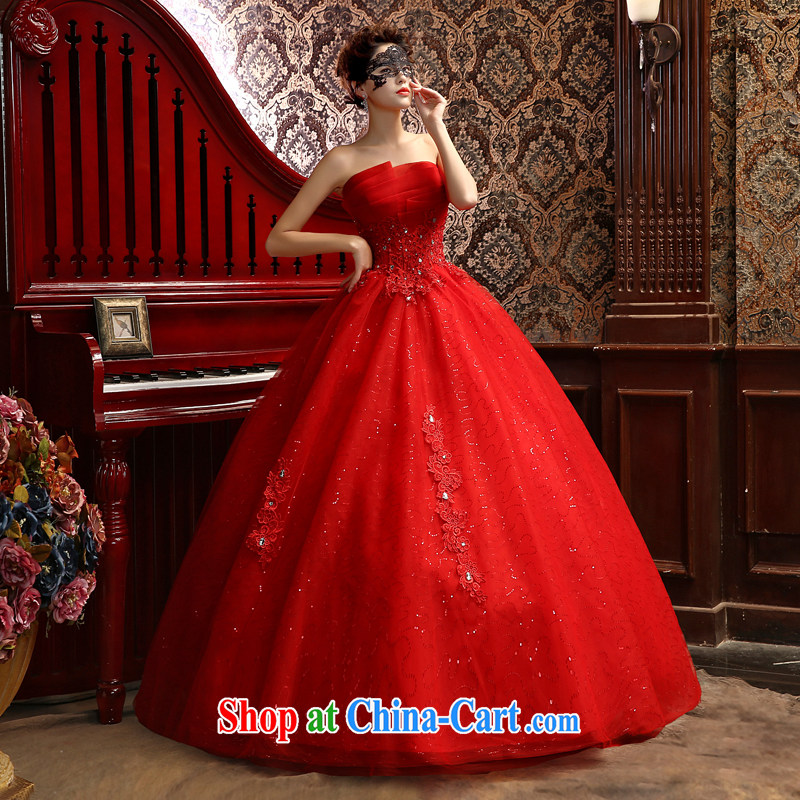 Su Wu edge 2015 New Red erase chest stylish with wedding marriages White Graphics thin wedding dresses shaggy dress red XL