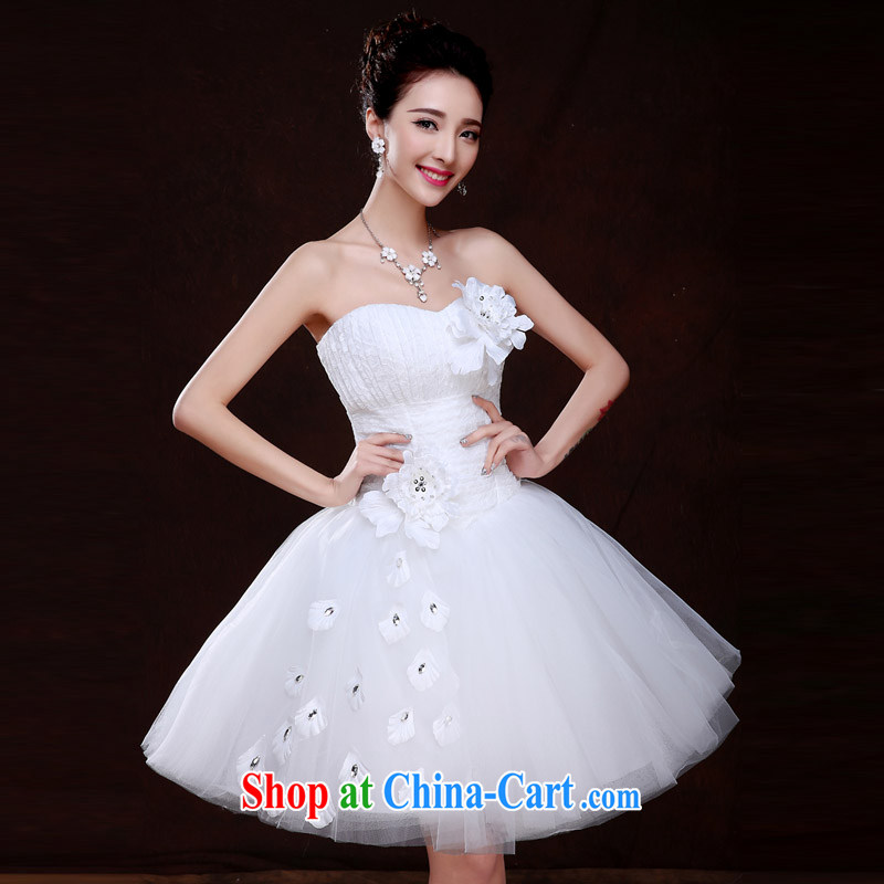 The china yarn short wedding shaggy dress bridesmaid dress wiped chest flowers 2015 spring marriages Korean small white dress white L