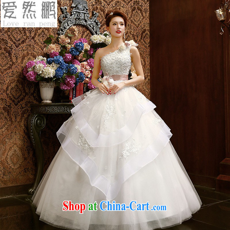 Korean Korean-style single shoulder Princess bridal lace wedding dresses 2015 spring and summer new sweet flowers Custom size to be done is not returned.
