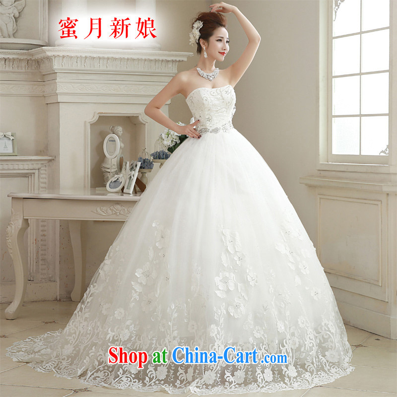 Honeymoon bride spring 2015 new female simple Erase chest parquet drill lace-tail wedding dresses white XL