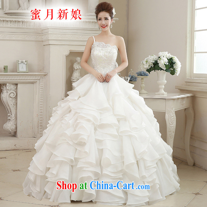 Honeymoon bridal 2015 spring beauty parquet drill lace single shoulder wedding dresses with cake dress wedding white XL