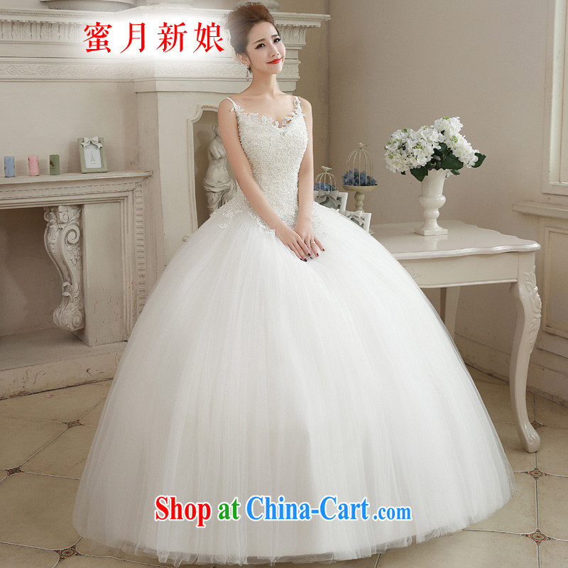 Honeymoon bride spring 2015 new female Korean Pearl wedding shoulders sexy graphics thin wedding white XL