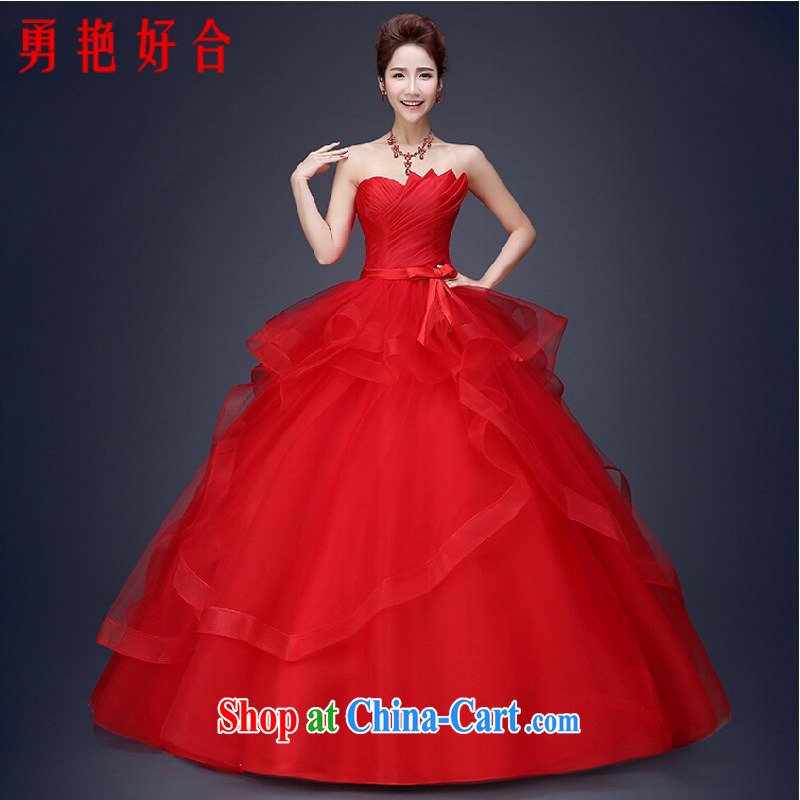 Yong-yan and wedding dresses 2015 new Korean marriages red Mary Magdalene Beauty Chest strap the code with spring and summer tie-red S