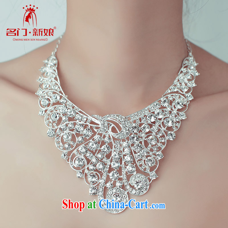 The bride's wedding dresses bridal accessories luxury diamond necklace Peacock 104