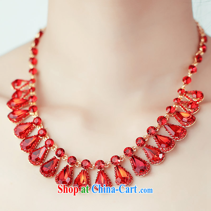 The bride's wedding dresses 2015 spring accessories red necklace bridal necklace earrings 109