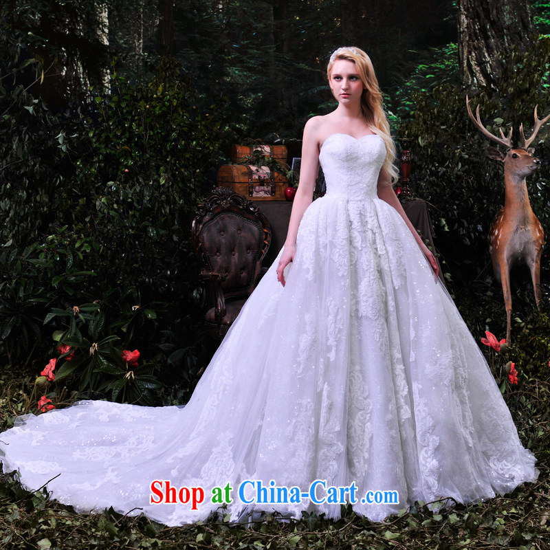 Garden wedding dresses 2015 spring and summer star Cancun Ling with European and American big luxury lace custom long drag S 852 ivory tail 100 CM tailored