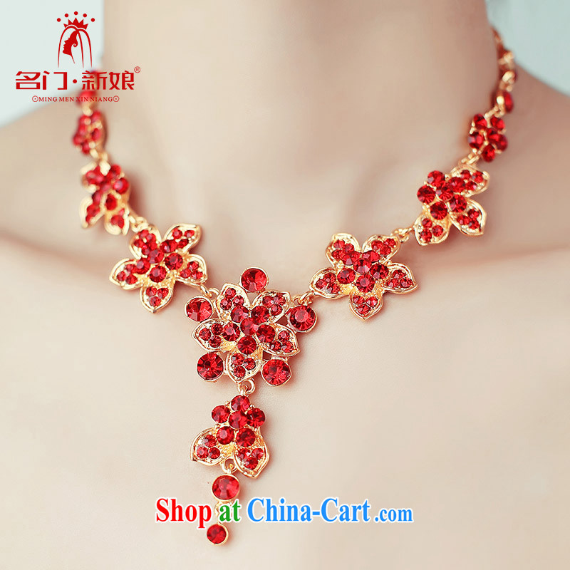 The bride's wedding dresses accessories bridal necklace luxurious drill red/Silver 113 red