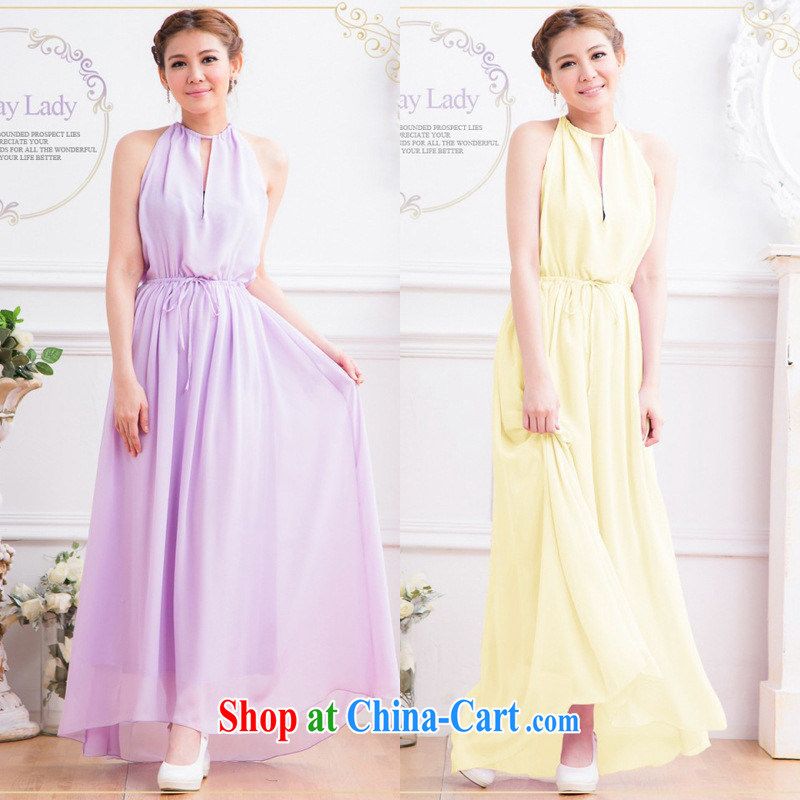 Korean snow woven dress long skirt elegance back exposed, Snow also woven with drag and drop long skirt dress long skirt yellow are code