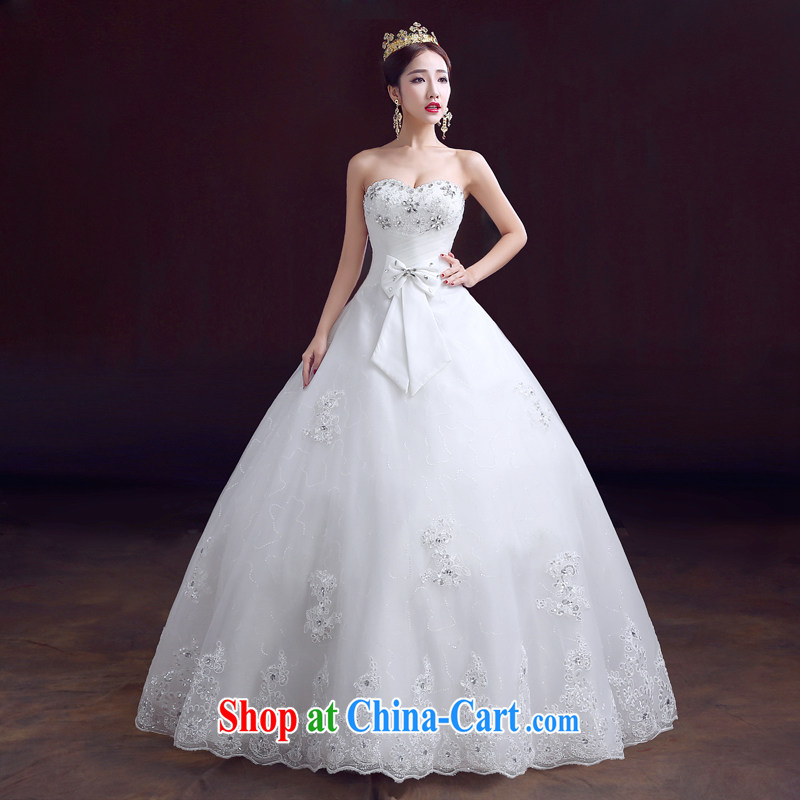 The married Yi wedding dresses new spring 2015 wiped his chest light drill with a strap graphics thin-waist wedding white XS