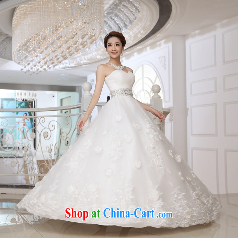 The married Yi wedding dresses 2015 new erase chest flowers with strap graphics thin spring new Korean version with wedding white XXL