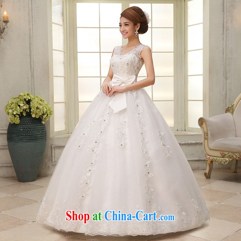 Dumping the married Yi wedding dresses 2015 spring new dual-shoulder high waist wedding V for Korean pregnant women wedding dresses with straps white XXL