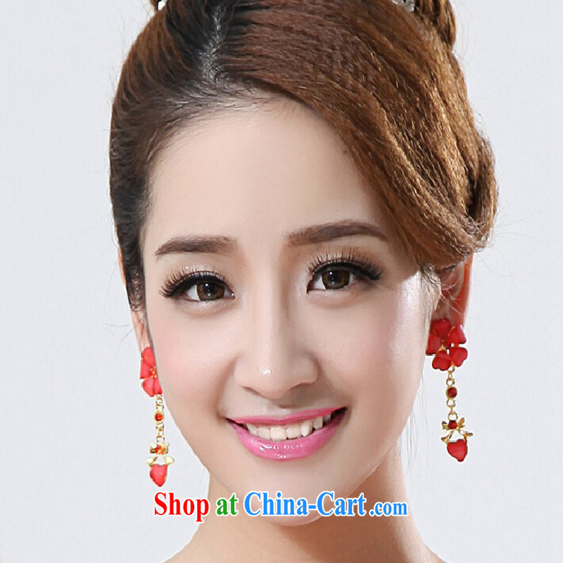 New earrings bridal wedding wedding supplies wedding dresses accessories accessories water drilling red