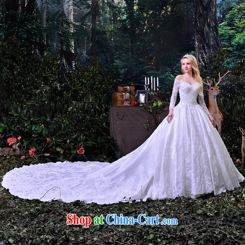Garden wedding dresses new spring 2015 erase chest wedding lace with a shoulder white tail custom S 853 white tail 1M 173 - M