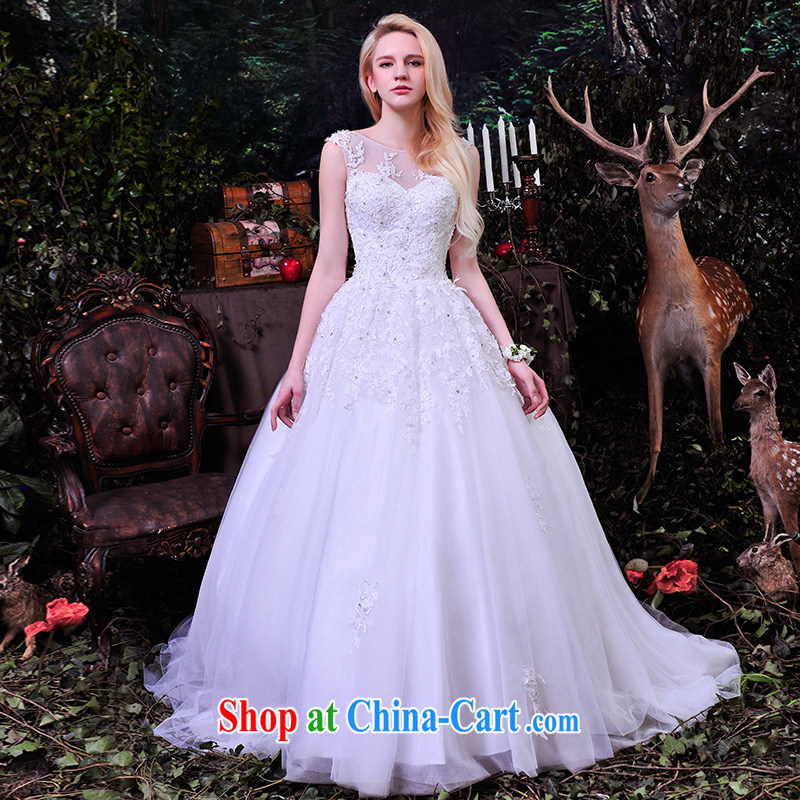 Garden wedding dresses 2015 spring and summer new transparent lace shoulders luxurious wedding tail strap graphics thin S 859 with paragraph 173 - M