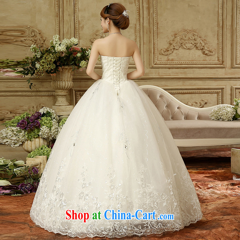 wedding dresses 2015 new Korean fashion wiped his chest bridal with cultivating a strap wedding Palace Princess wood drill lace white XXL