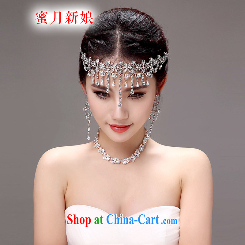 Honeymoon bride's Korean-style new bride-trim-link and heart ornaments wedding hair accessories wedding jewelry accessories White Picture Color