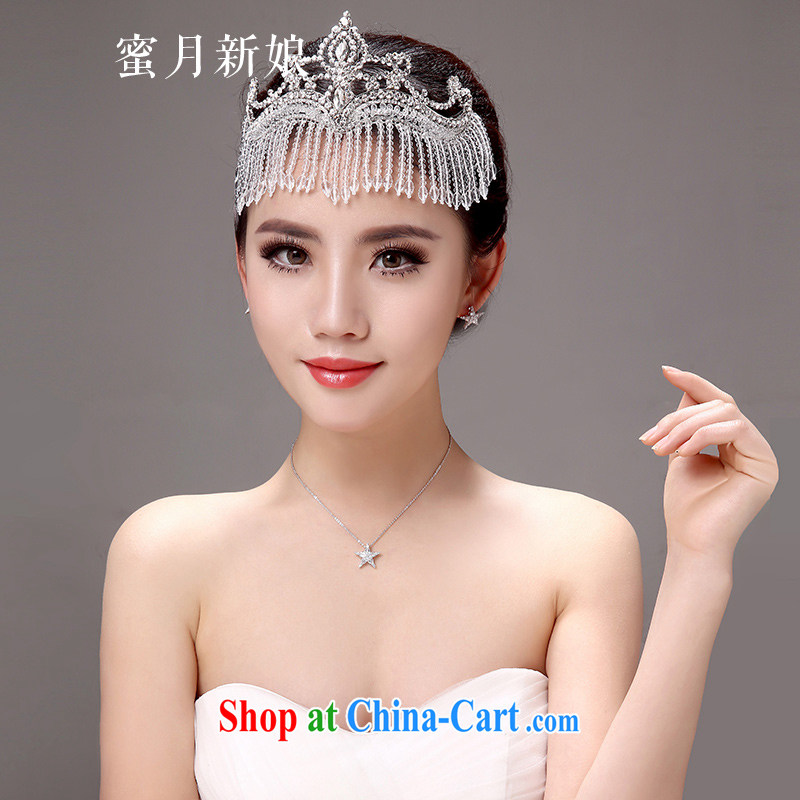 Honeymoon bride's Korean-style new bride-trim-link and heart ornaments wedding hair accessories Crown wedding jewelry jewelry white