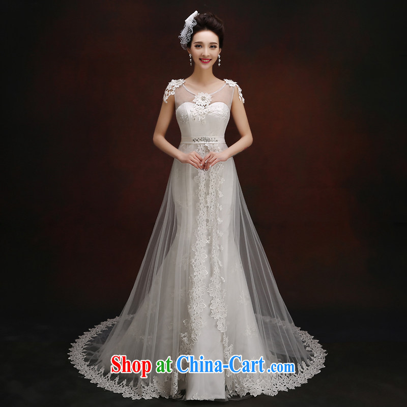 Wedding dress white crowsfoot wedding dresses summer 2015 new Korean version a bare shoulders chest lace inserts drill cultivating tail wedding white Custom Size 5-Day Shipping, 100 Ka-ming, and shopping on the Internet