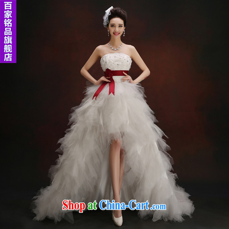 The short long wedding summer 2015 new stylish erase chest parquet drill short, cultivating a strap tail wedding white Custom size 5-Day Shipping