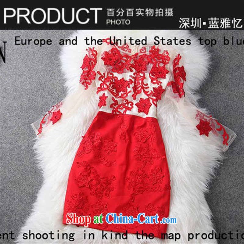 In Europe the genuine European root to the embroidery dress toast service packages and dresses wedding T 1288 blue XL