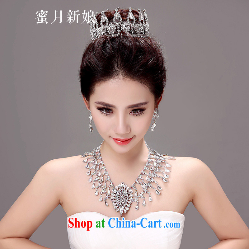 Honeymoon bride Korean-style new bride large crown and ornaments wedding hair accessories wedding jewelry accessories white