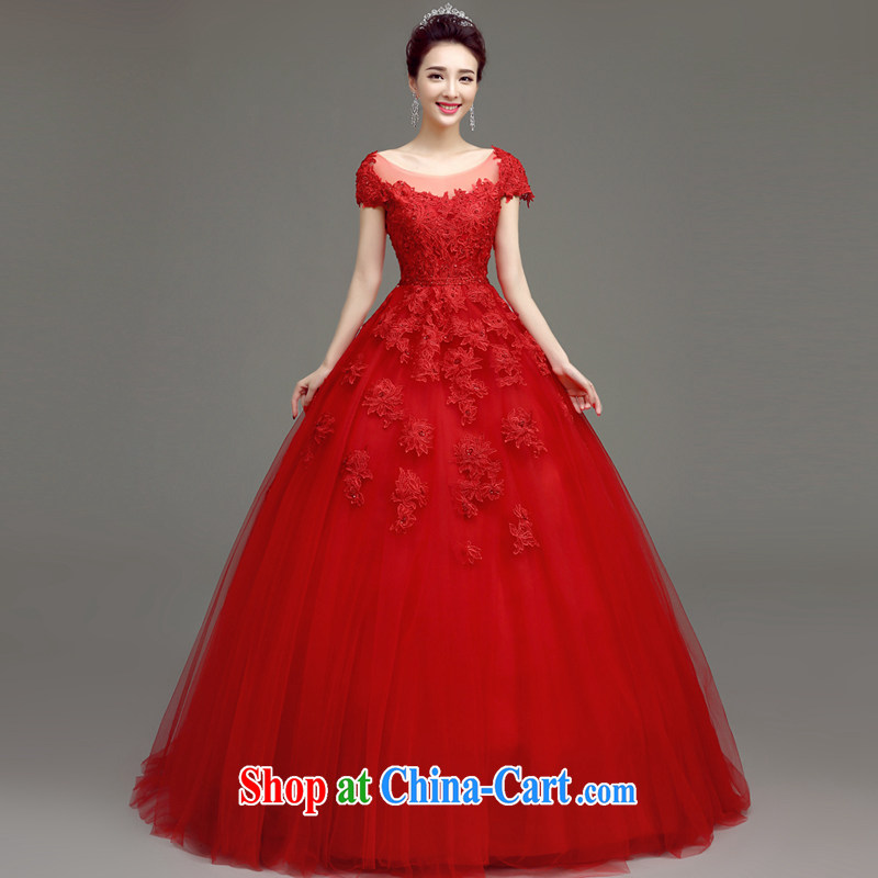 According to T-shirt according to the 2015 New Red lace wedding dresses spring and summer stylish Korean-style field shoulder graphics thin straps bridal wedding dresses red XXL