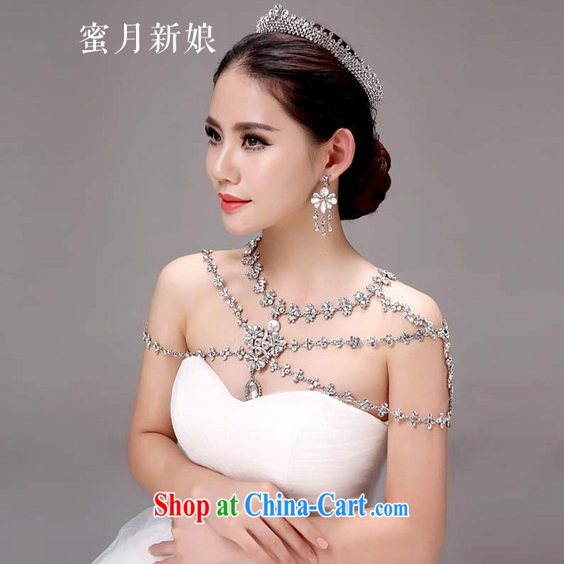 Honeymoon bridal bridal shoulder link Korean-style wedding jewelry wedding gas inserts drilling quality furnishings wedding jewelry white