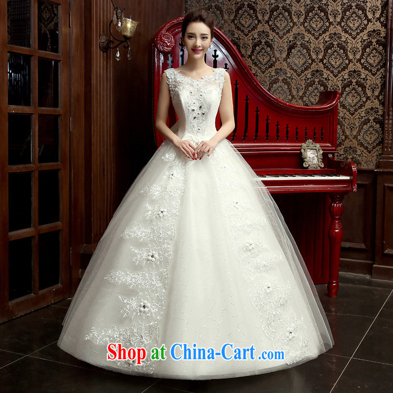 wedding dresses 2015 spring and summer new Korean version simple shoulders with graphics thin bride married a Field shoulder stylish wedding white M