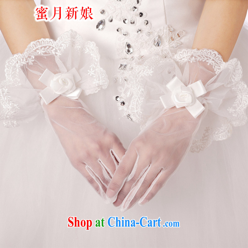 Honeymoon bridal wedding gloves bridal short gloves wedding accessories Openwork lace gloves dress gloves white