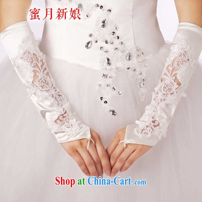 Honeymoon bridal wedding accessories bridal gloves without the long gloves and refined manually seamless bead lace gloves white